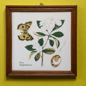 Vintage botanical tile with butterfly